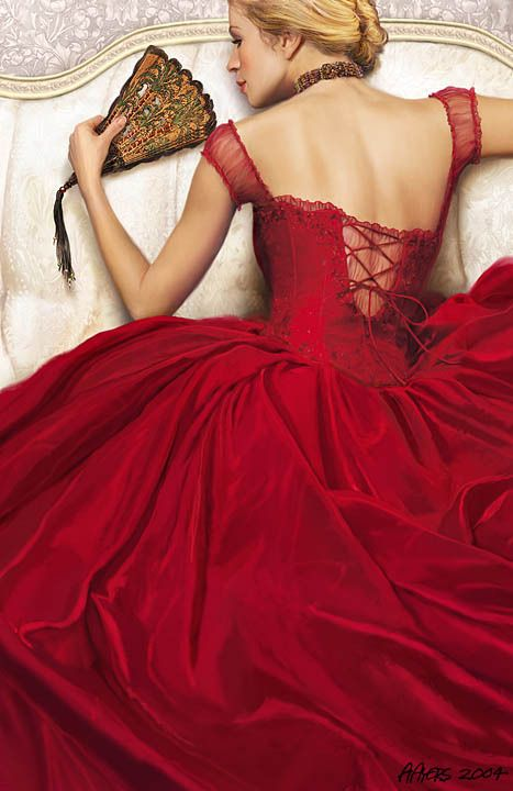 (Alan Ayers) crimson red corset bodice ball gown wedding gown