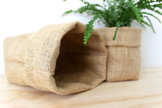 Natural Hessian  Pot Pouch  Fabric Pouch  Fabric by NettaDesigns