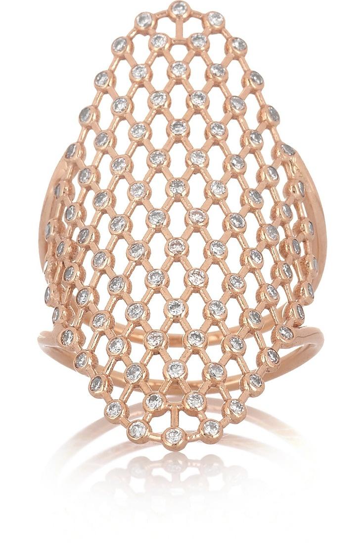 Diane Kordas|Mesh 18-karat rose gold diamond ring|NET-A-PORTER.COM