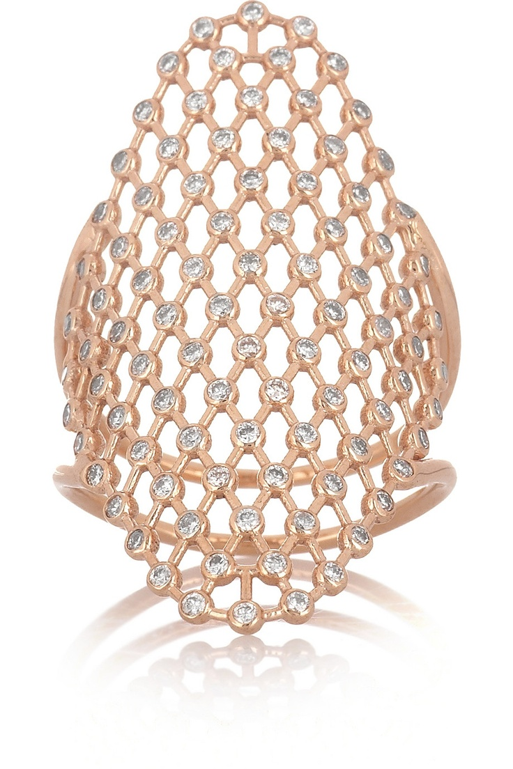 Diane Kordas | Mesh 18-karat rose gold diamond ring | NET-A-PORTER.COM