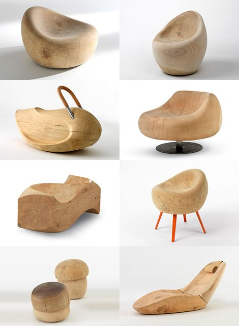 What an adorable set of solid cedar furniture! We can almost smell the fresh cedar wood. Armchairs, stools and benches, all carved by hand from solid cedar trunks. Made from an old world material but very contemporarily shaped, this furniture fits beautifully in the modern spaces - just look at the images below ... Riva.