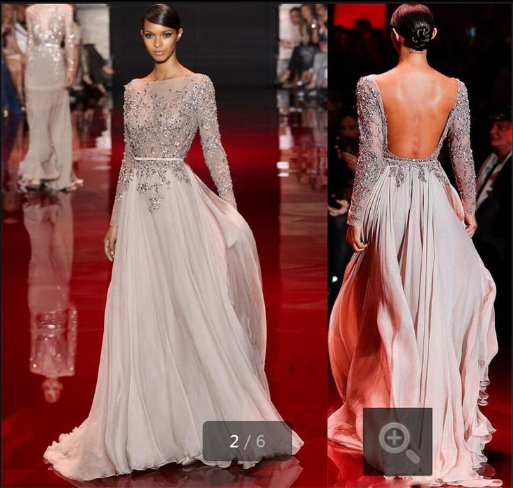 2016 Long Sleeve Applique sexy real picture evening dress Chiffon A line Sashes Backless Formal Evening Dresses