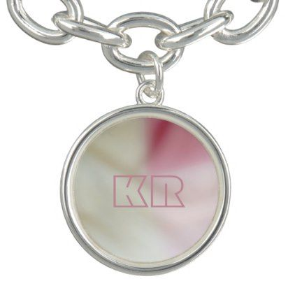 #initial - #Salmon pink and satin-look with your initials bracelet