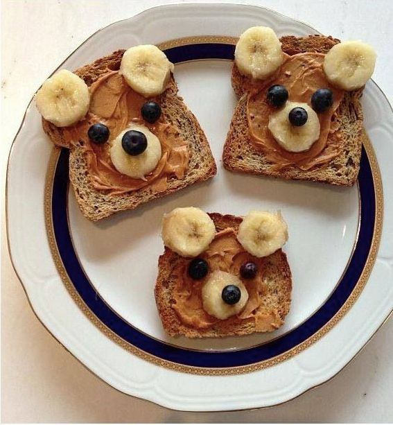 Whole wheat bread, bananas, blueberries, peanut butter. From Just Cook For Kids' facebook.