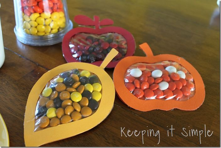 tasty fall treats Cut out leaf background with Cricut, then cut shadow foreground.  Hot glue background shape to ziploc baggie, fill with candy, glue cut out shape on front.  Trim baggie edges off around shape.  (Try using Hotmarks tool to trace around shape, melting off excess baggie.)