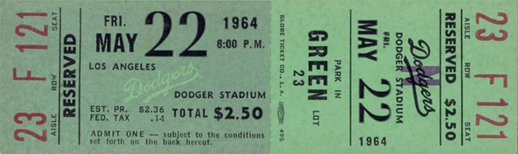 The  Regular Season  ticket for the Los Angeles Dodgers game vs the Philadelphia Phillies  on May 22, 1964.