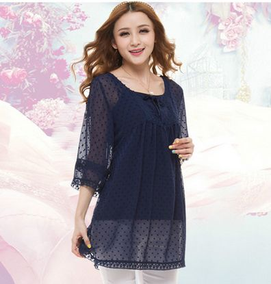 new 2014 women shirt L-4XL hollow out lace blusas polka dot tops for women blue round neck bowknot decorate for summer (E-wear)