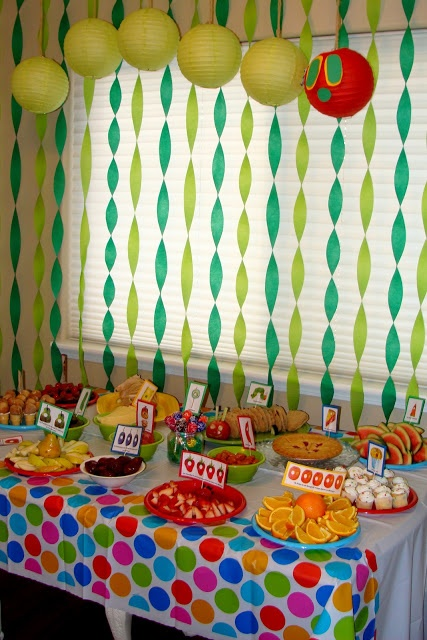 Love this idea for having all the food he ate on a table to eat at the Very Hungry Caterpillar Party #WorldEricCarle #HungryCaterpillar