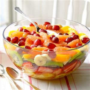Layered Fresh Fruit Salad Recipe -People always pass on compliments when I take this salad to covered-dish suppers. It's nice on a hot day...with a winter meal...or as a dessert! We live on a small farm where my garden gives me lots of possibilities for fresh food. —Page Alexander, Baldwin City, Kansas