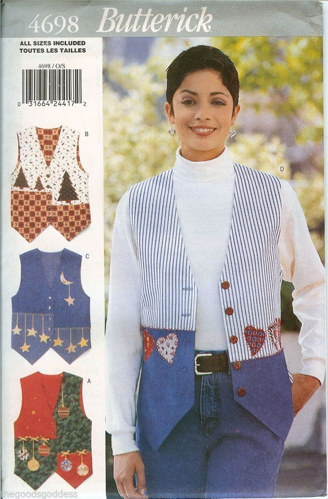 Sew a cute vest for yourself! Butterick Misses 4698 Applique #Vests Seasonal Sewing Pattern UNCUT FF embroidery