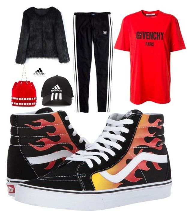 """""""Fire"""" by tymarahshand on Polyvore featuring Vans, Givenchy, Madewell, Tomasini, Chicwish and adidas"""