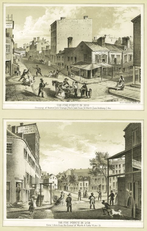 The Five Points in 1859 : crossing of Baxter (late Orange) Park (late Cross) and Worth (late Anthony) Streets; The Five Points in 1859 : view taken from the corner of Worth and Little Water St. New York City, 1860.