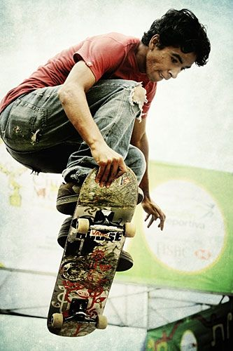 Skateboarding. Very graphic logo. Makes a statement for sure!!