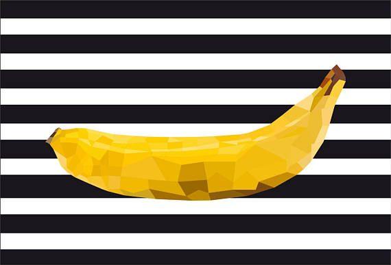 banana geometrica su righe bianche e nere