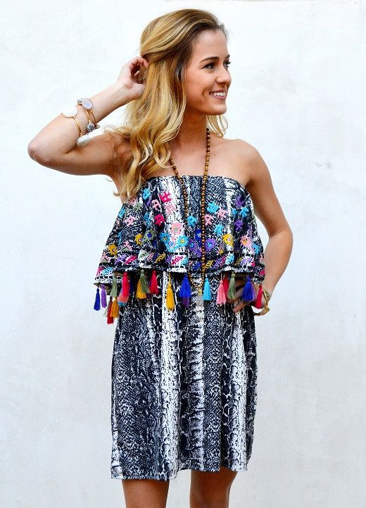 Judith March Snakeskin Print Shimmy Dress with Multi Tassel