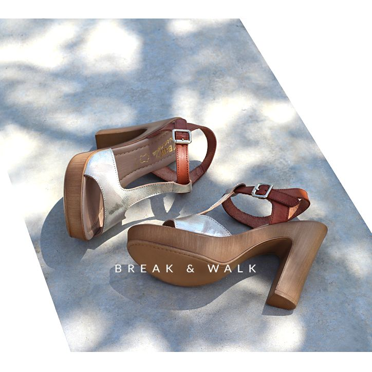 Sandalias Tacón Platino para Mujer Break&Walk. Tendencias y Moda para Mujer.