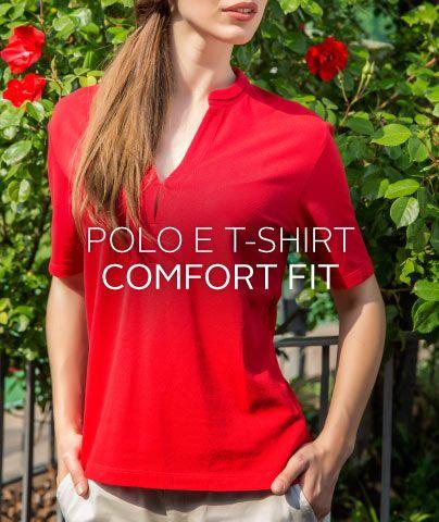Linea #comfortfit per le donne #curvy #red #polo #tshirt #comodità #pe15 #ss15