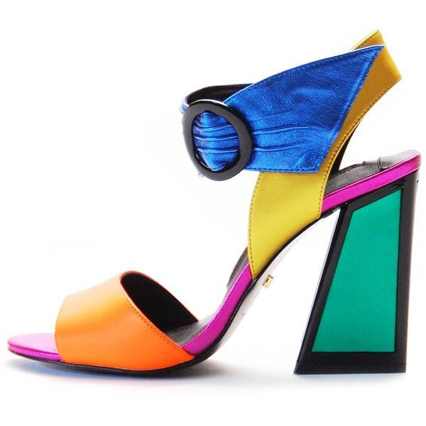 Kat Maconie 'Ray color block party sandal (£185) ❤ liked on Polyvore featuring shoes, sandals, heels, color block sandals, blue sandals, black sandals, block-heel sandals and colorful sandals