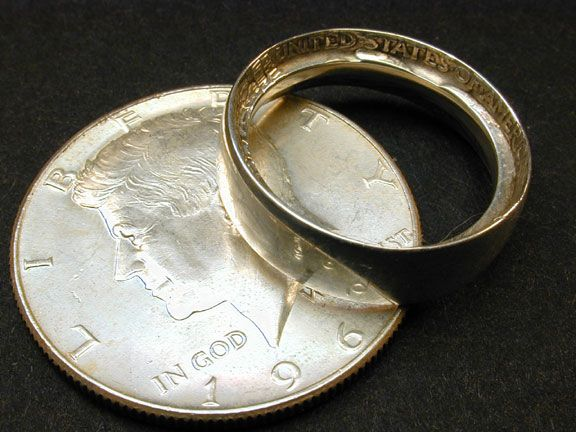Did you know quarters made before 1964 are made with pure silver? Using a spoon, a drill, and a metal file, you can turn those quarters into a nice silver band.    Basically you tap on the quarter itself until it forms a ring then you drill out the inside.  Pretty neat way to make a ring, all from quarters!