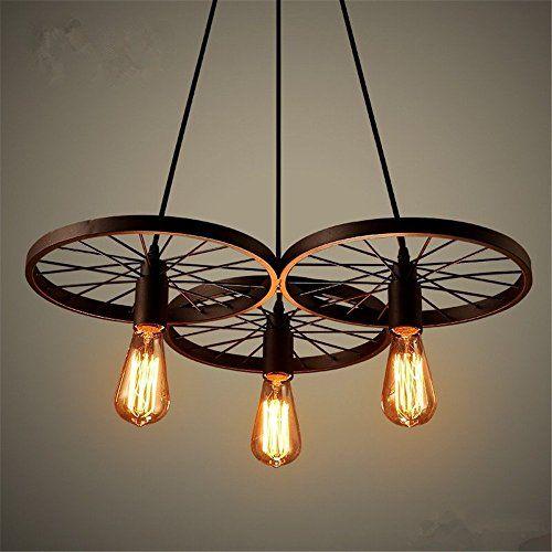 Retro Industry Design Pendelleuchte im Loft-Style, Esszimmer Vintage Retro Hängeleuchte Lampe,Wohnzimmer, Rad kronleuchter,3 X E27, Ø 56 cm - http://led-beleuchtung-lampen.de/retro-industry-design-pendelleuchte-im-loft-style%ef%bc%8c-esszimmer-vintage-retro-haengeleuchte-lampe%ef%bc%8cwohnzimmer%ef%bc%8c-rad-kronleuchter%ef%bc%8c3-x-e27-o-56-cm/ #BadDeckenleuchten