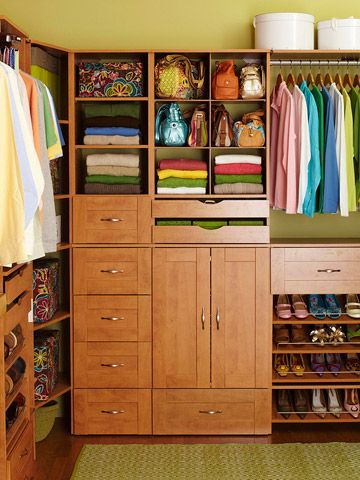 A semicustom closet system -- available at home improvement centers -- maximizes the storage potential of this standard 8x10-foot master closet. Drawers, shelves, pullouts, clothing rods, shoe racks, drawer organizers, and more accommodate all clothing necessities and accessories with ease. This do-it-yourself closet system rivals a high-end one but without the heavy price tag. Plus, it can be installed in a weekend.