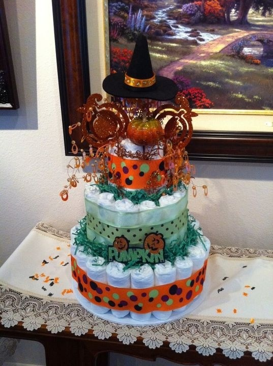 halloween diaper cake made by nicole holcomb