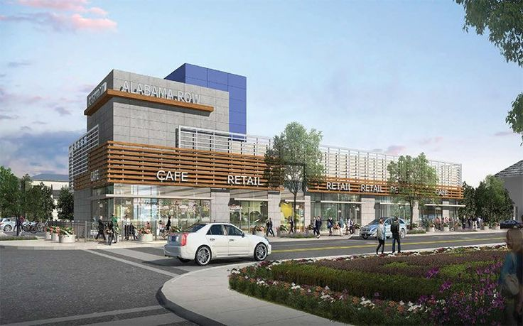 New modern shopping center wants to cozy up to the corner for Retail shop exterior design