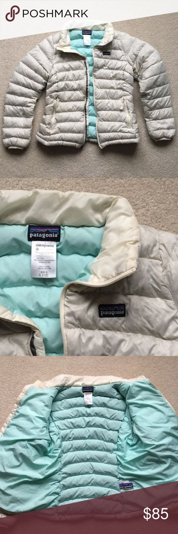 Patagonia kid girls down sweater jacket Patagonia kids girls down sweater jacket.  Recycled collection. Off white. Girls size large (12)  Limited Edition Patagonia Jackets & Coats Puffers