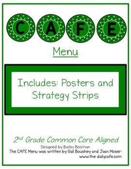 A theme to fit your favorite coffee shop! This packet includes everything you might need to set up your CAFE bulletin board for the year.Includes:- Title Page- Fonts to Download- CAFE Letters- CAFE Posters with Descriptions- 2nd Grade CCSS aligned Strategy Strips- Blank Strips to create your own!Grades 1-5 Available in my Store!