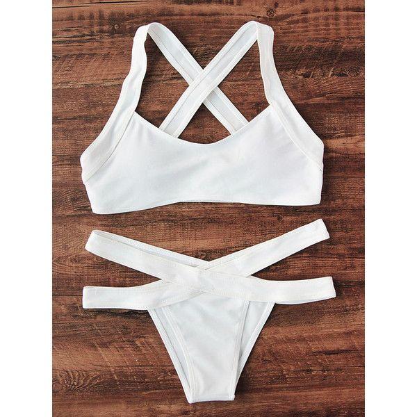 Cross Back Side Cutout Bikini Set ($20) ❤ liked on Polyvore featuring swimwear, bikinis, white, white bikini swimwear, bikini swimwear, white swimwear, white two piece and cross-back bikinis