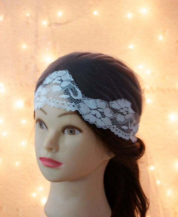 Lee, cap style wedding veil. Stretch off white lace trim. wedding veil, cap bridal headpiece, wedding accessory, lace cap veil