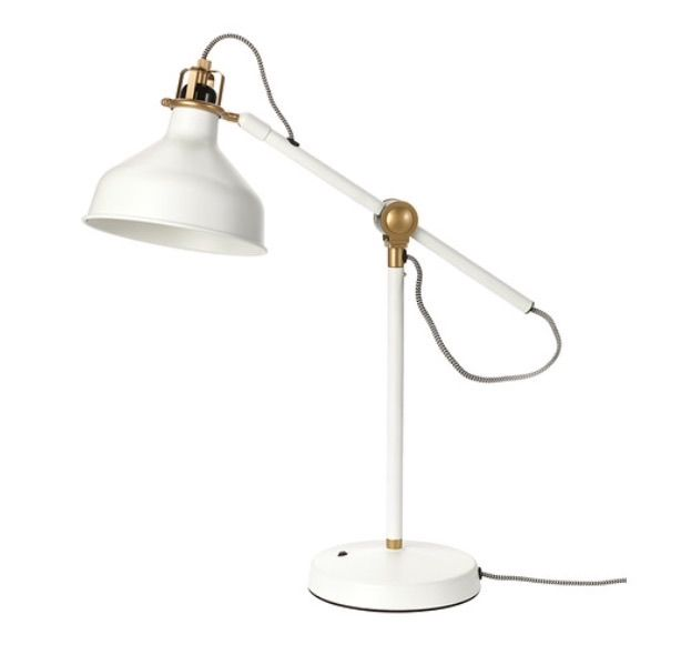 Work lamp in gold and white with black and white fabric cord ikea