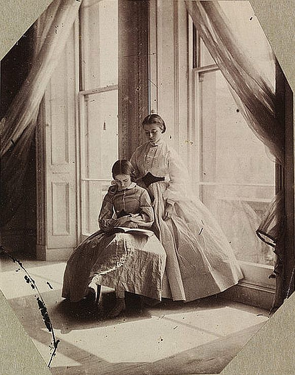Lady Clementina Hawarden (British photographer) 1822 - 1865, Clementina and Isabella Grace Maude, 5 Princes Gardens; Photographic Study, ca. 1859-64, sepia photograph, mounted on card, 11.5 x 9 cm. Victorian and Albert Museum, London.