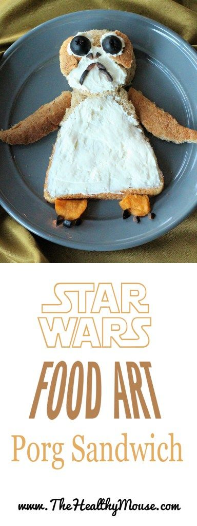 A Star Wars inspired food art porg sandwich! Porg Recipe, Star Wars Recipe