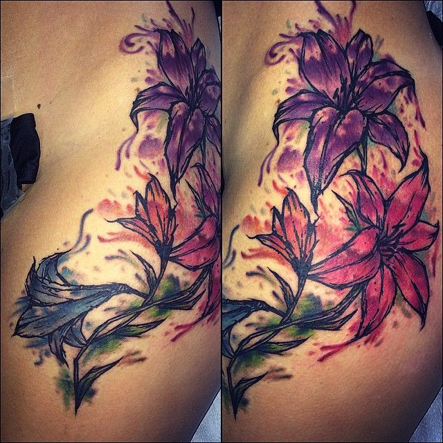 Watercolor lily tattoo by jeremy sloo hamilton at blood for Tattoo parlors in charlotte nc
