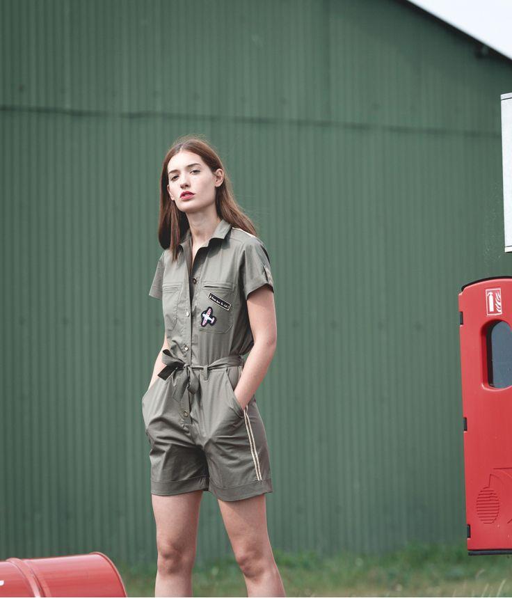 Combi-short kaki coton et élasthanne - Devernois x Dorine Bourneton