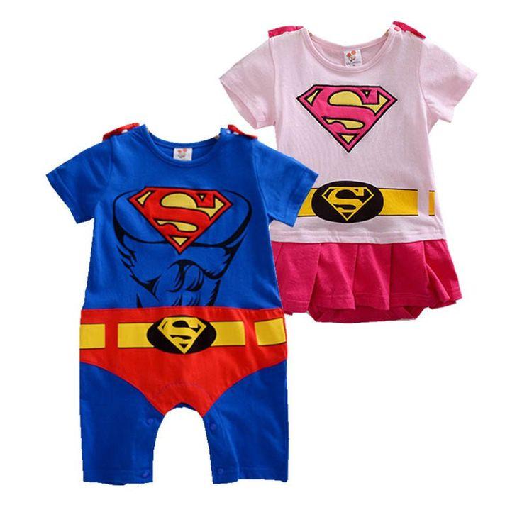 Toddler Superhero Costumes Infant Girls Boys Set Superman Supergirl Batman Romper Bebe Superheroe Cloak Superman Baby Outfit