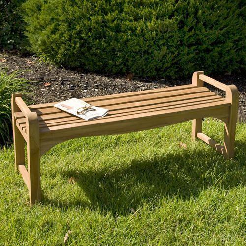 4 ft teak outdoor backless bench