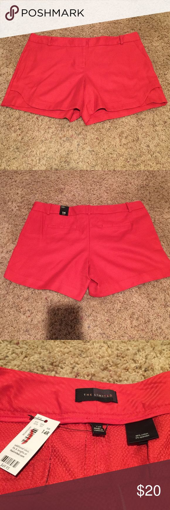 "The Limited 14R Easy short Red women's shorts NWT The Limited red shorts. Women's size 14R easy short with a 5"" inseam. 98% cotton 2% spandex. Cute detail on the sides (see photo) The Limited Shorts"