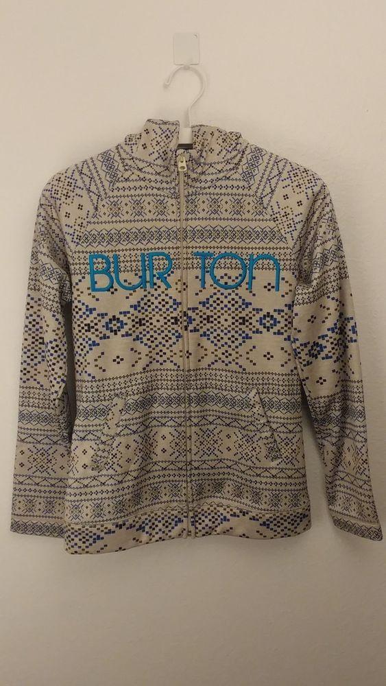 Burton Patterned Fleece Lined Ski Snowboard Sweatshirt Size Medium #Burton #Hoodie