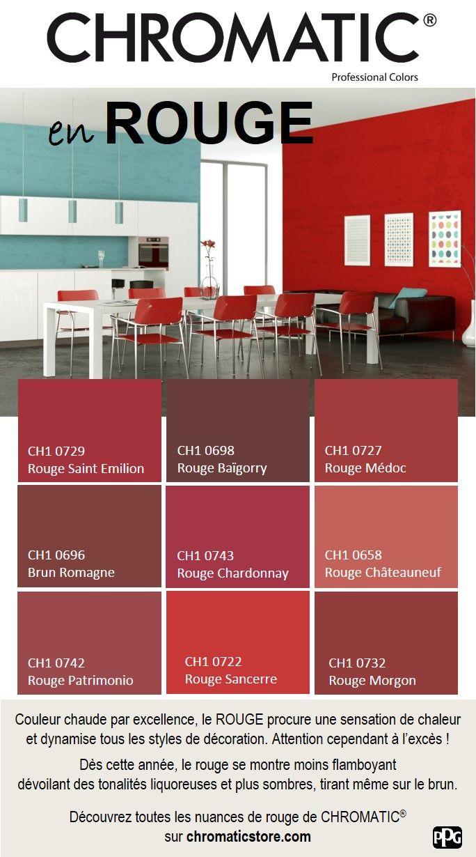 Couleur chaude par excellence, le ROUGE procure une sensation de chaleur et dynamise tous les styles de décoration. Attention cependant à l'excès ! Dès cette année, le rouge se montre moins flamboyant dévoilant des tonalités liquoreuses et plus sombres, tirant même sur le brun. Découvrez toutes les nuances de rouge de CHROMATIC® sur www.chromaticstore.com #déco #rouge