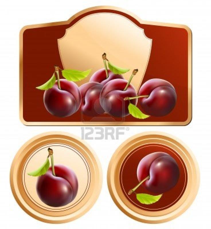 Vector. Fondo per la progettazione di imballaggio barattolo di marmellata con foto-realistiche prugne. Archivio Fotografico