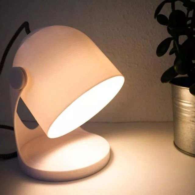 A 3d Printed Lamp Designed By Tony Larsson The Base Is Filled With Stand For Added Stability 3dprinted Crealityender Bedside Lamp Lamp Bedside Lamps Wood