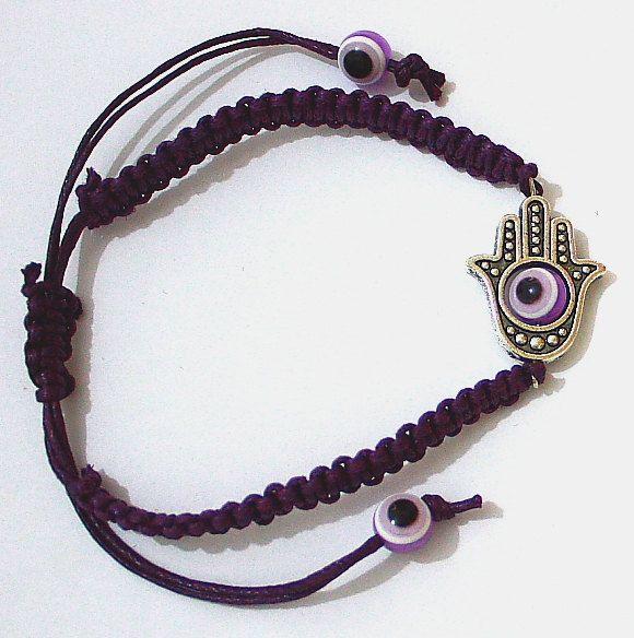 Hamsa Hand Evil Eye Lucky Charm Purple Judaica Bracelet - Bangle String Wrap with Rotating Eye