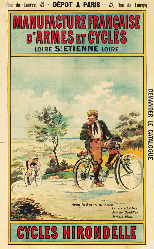 Vintage cycling advert poster reproduction. Hirondelle Cycles