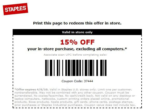 Staples coupon postcards