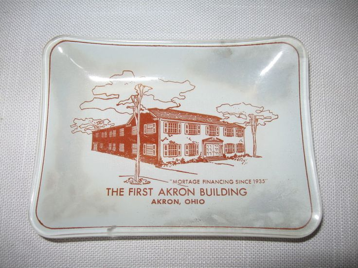 Glass Ash Tray The First Akron Building Mortage Financing Since 1935