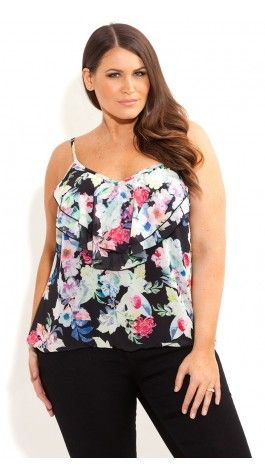 Plus Size Garden Layer Strappy Top - City Chic - City Chic