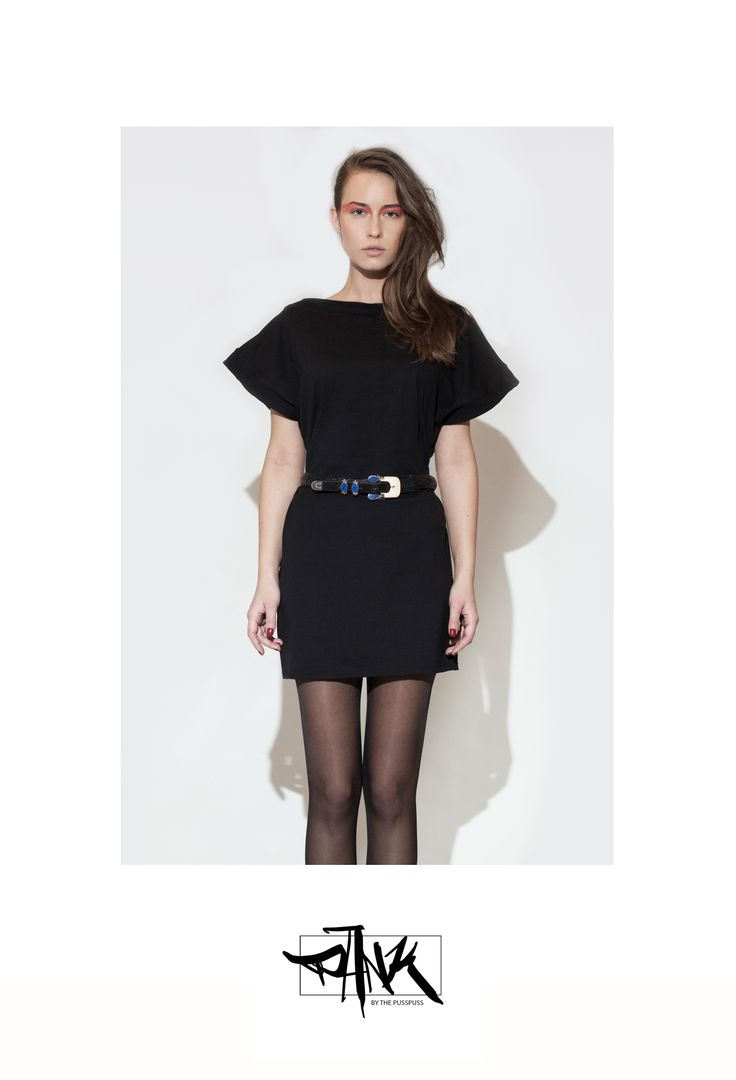 100% black cotton mini dress. 100% sweatshop free, made in EU with love. Belt is not included.  For surprises and infos check out our Facebook page:  https://www.facebook.com/PANKbythePussPuss