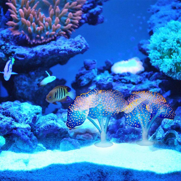 Coral Acuario de Coral Artificial Planta De Silicona Con Lechón lechón Ornamento Paisaje Del Agua Decoración Del Tanque de Pescados Del Acuario Accesorios
